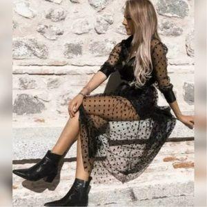 Zara long sheer button-down polka dot dress NWOT
